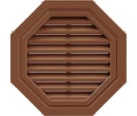 Восьмиугольная фронтонная вентиляционная решётка Коричневая